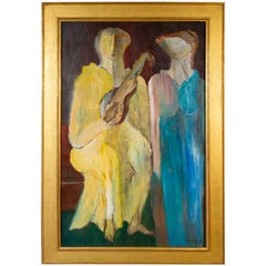 Alfred Rogoway Oil Painting 'Women with Violin' 1960s Modernist