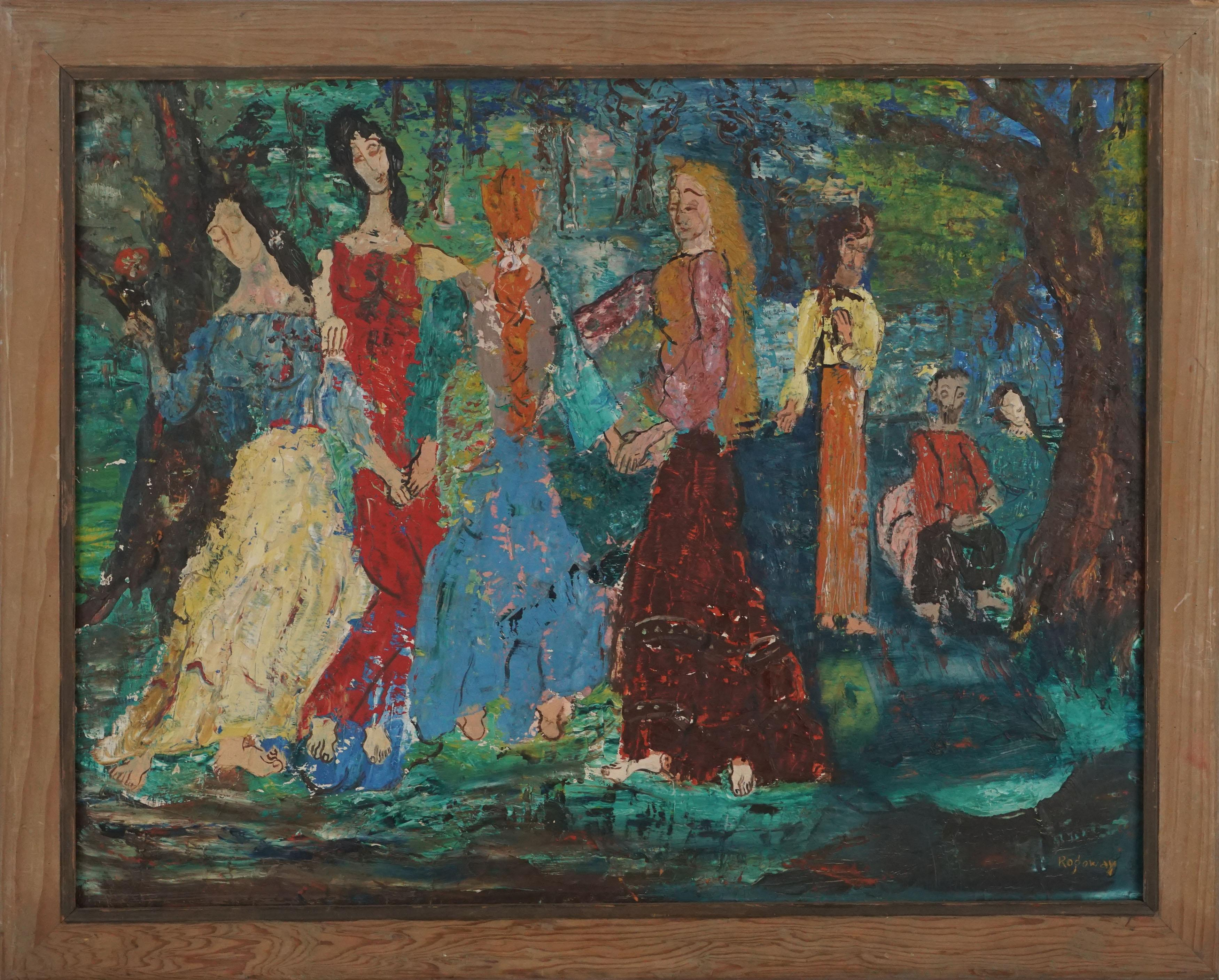 Abstract Expressionist Figurative -- Dancing Women at Picnic