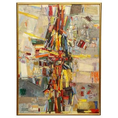 "Alfred Russell Painting ""Rue Saint Dennis"" Abstract Mid-Century Modern 1948-1950"