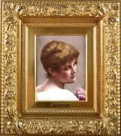 19th Century portrait oil painting of a young woman with a rose