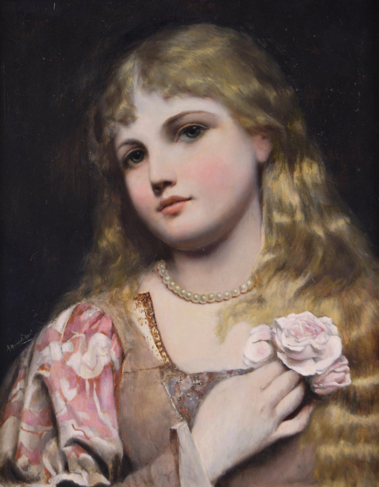 19th Century portrait oil painting of a young woman with pearls & a rose - Painting by Alfred Seifert