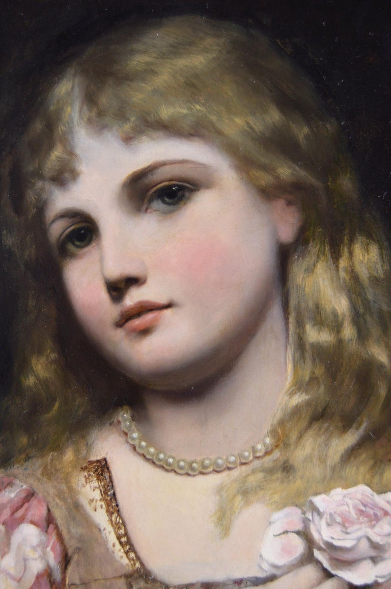 19th Century portrait oil painting of a young woman with pearls & a rose - Victorian Painting by Alfred Seifert