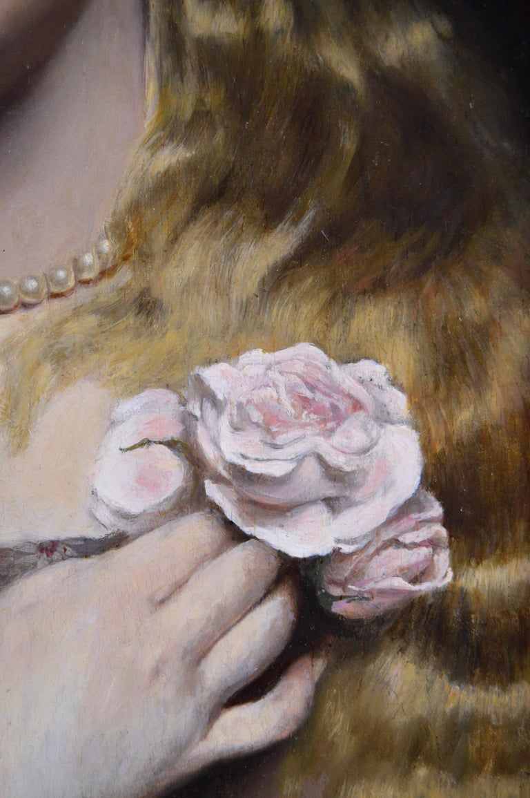 Alfred Seifert  Czech, (1850-1901) Portrait of a Young Woman with a Pearl Necklace & Rose  Oil on panel, signed Image size: 15.5 inches x 12 inches  Size including frame: 23 inches x 19.5 inches  Alfred Seifert was born in Praskolesy, Bohemia