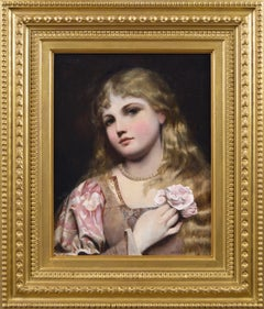 19th Century portrait oil painting of a young woman with pearls & a rose