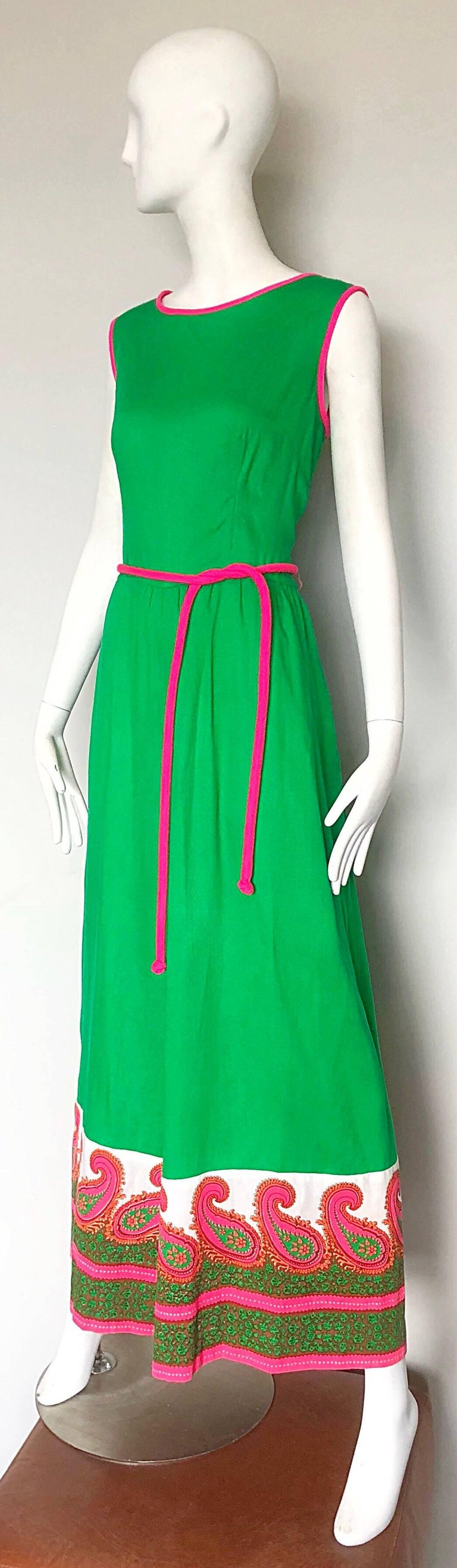 Women's Alfred Shaheen 1960s Large Size Kelly Green + Pink Vintage 60s Palazzo Jumpsuit For Sale