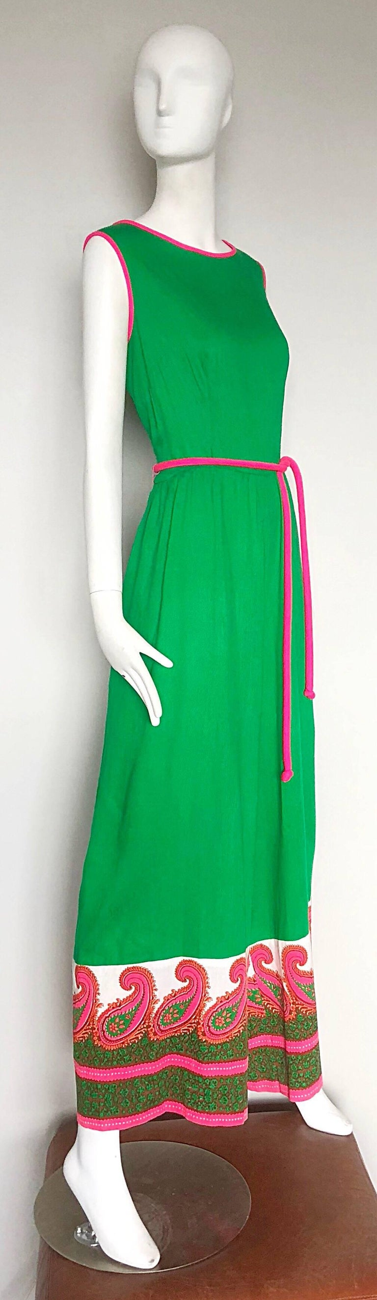 Alfred Shaheen 1960s Large Size Kelly Green + Pink Vintage 60s Palazzo Jumpsuit For Sale 1