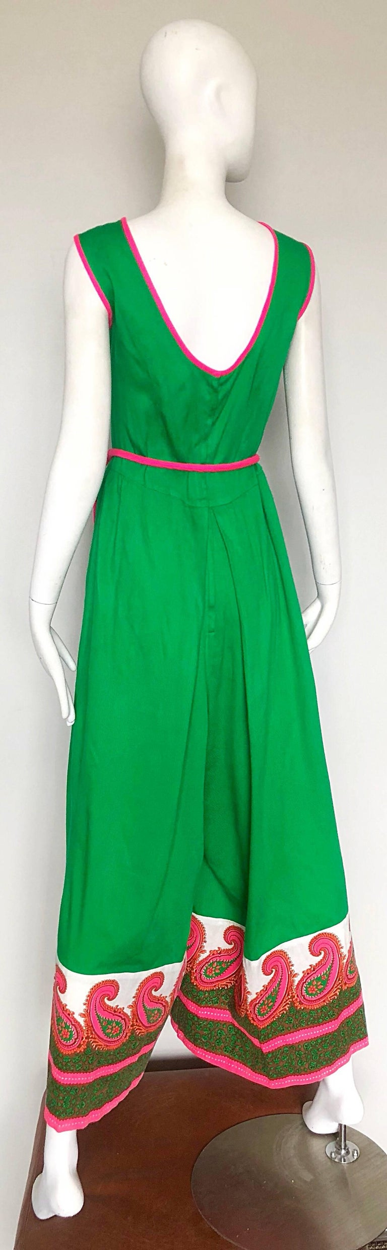 Alfred Shaheen 1960s Large Size Kelly Green + Pink Vintage 60s Palazzo Jumpsuit For Sale 2