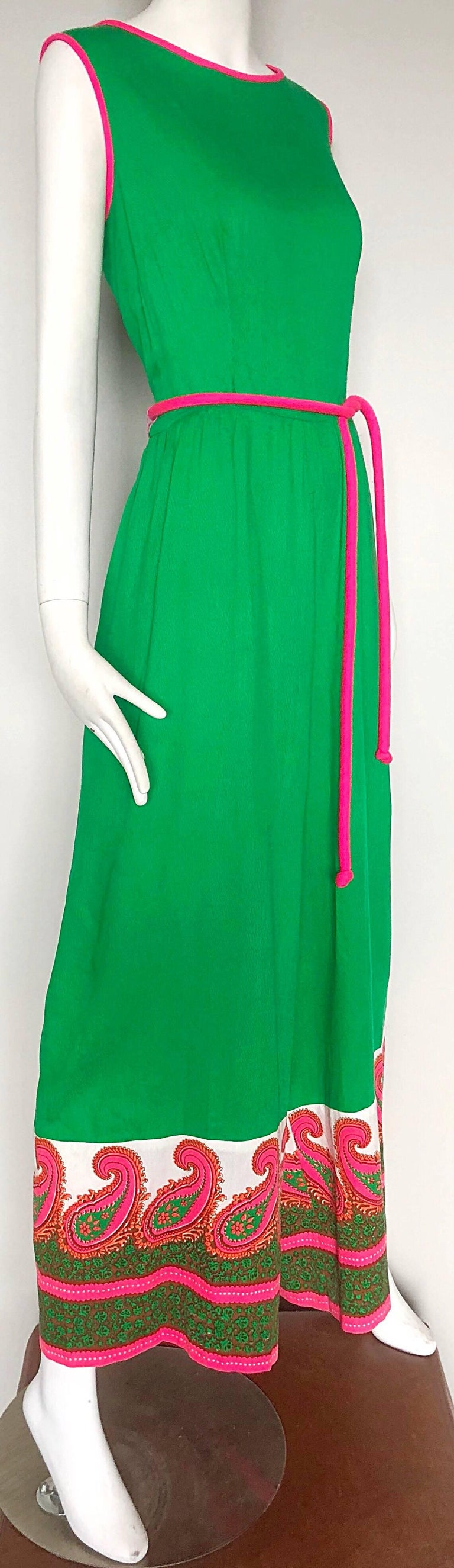 Alfred Shaheen 1960s Large Size Kelly Green + Pink Vintage 60s Palazzo Jumpsuit For Sale 3