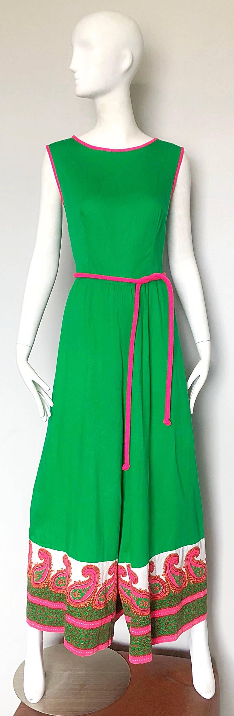 Alfred Shaheen 1960s Large Size Kelly Green + Pink Vintage 60s Palazzo Jumpsuit For Sale 5