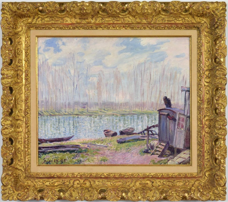 * This price excludes 5% import duty applicable if the work remains in the European Union.   ALFRED SISLEY (1839-1899)  Bords du Loing  Oil on canvas 46.1 x 55.7 cm (18¹/₈ x 21⁷/₈ inches) Signed and dated lower left, Sisley 90 Executed in