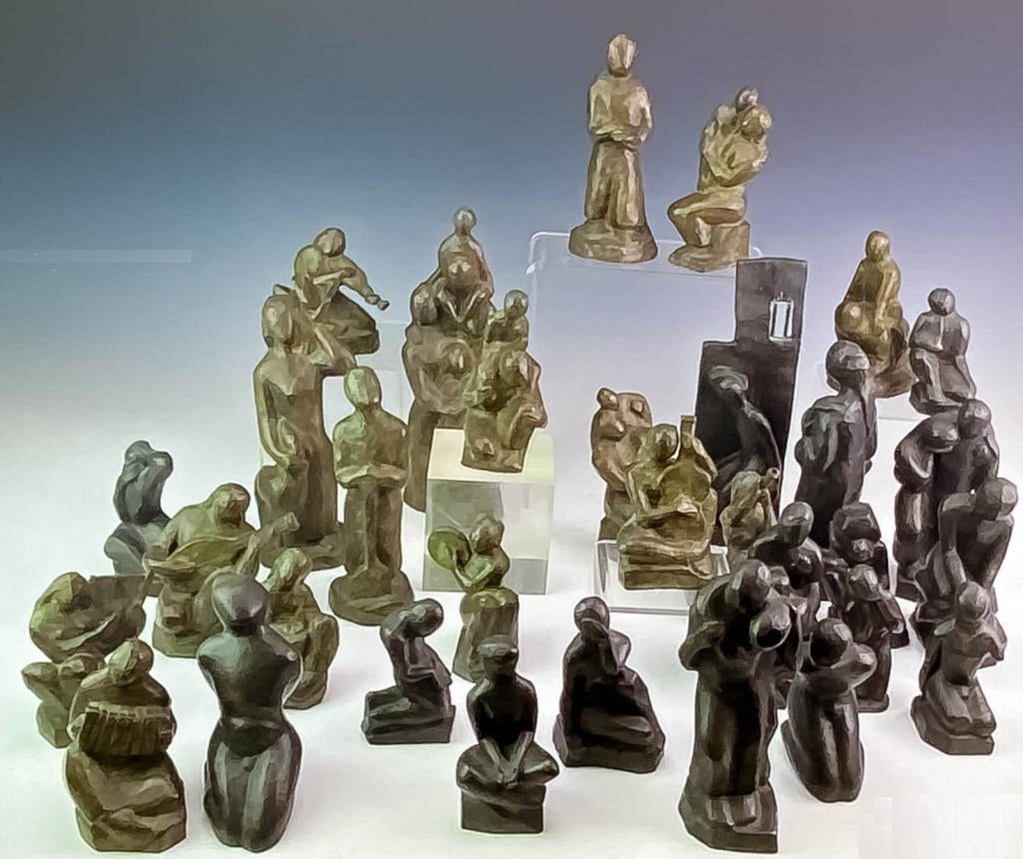 Liberty vs Slavery Van Loen Bronze Abstract Chess Set Modernist Museum Sculpture