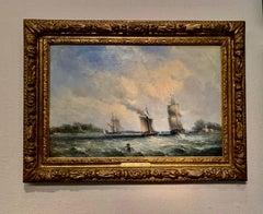 English Victorian sail and steam boats at sea