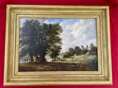 Extensive Victorian 19th century English River Landscape with people with a tent