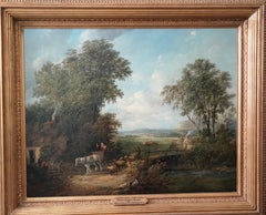 View Near Conway, North Wales - British Victorian exh art landscape oil painting