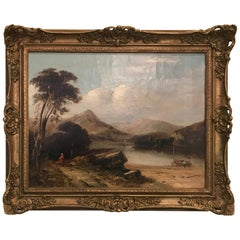 Alfred Walker Williams 19th Century Landscape Oil Painting on Canvas