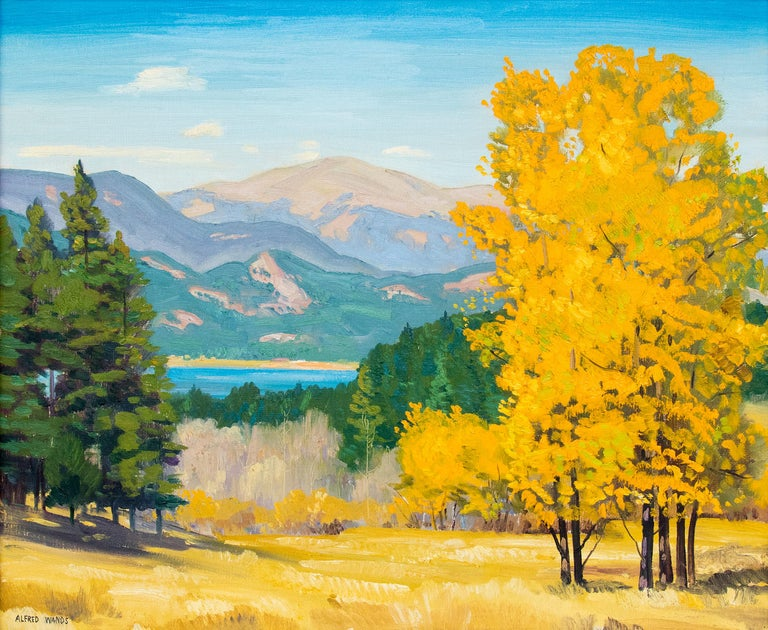 Mountain Landscape, Autumn, Colorado, Aspen Trees & Lake (Yellow, Green, Blue) - Painting by Alfred Wands