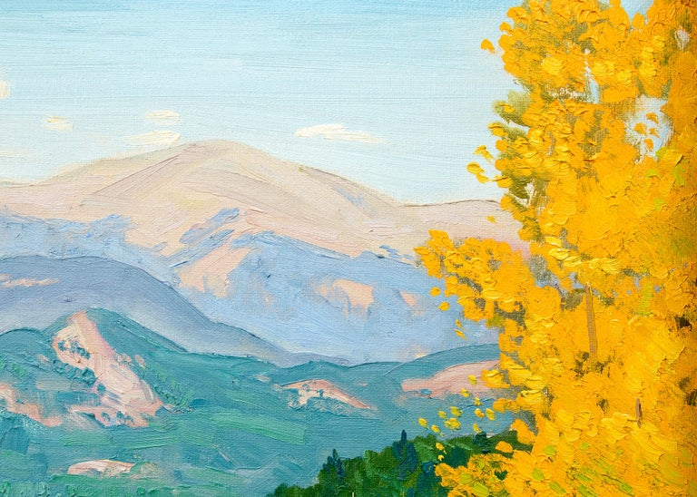Mountain Landscape, Autumn, Colorado, Aspen Trees & Lake (Yellow, Green, Blue) - American Impressionist Painting by Alfred Wands