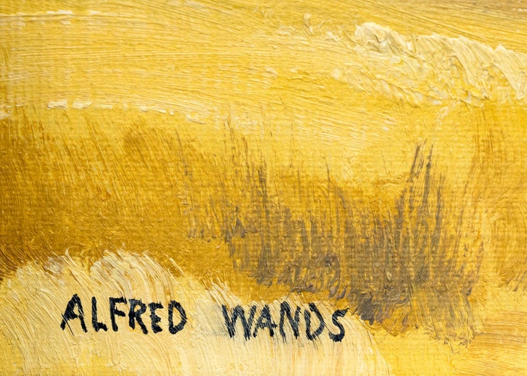 Mountain Landscape, Autumn, Colorado, Aspen Trees & Lake (Yellow, Green, Blue) - Beige Landscape Painting by Alfred Wands