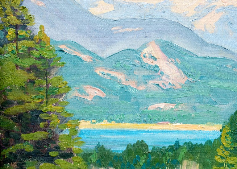 Vintage Colorado landscape painting in Autumn with green pine trees and aspen trees with golden leaves, lake and mountains with blue sky. Oil on canvas, signed lower left. Presented in a vintage frame, outer dimensions measure 25 ½ x 29 ⅜ x 1 ¾
