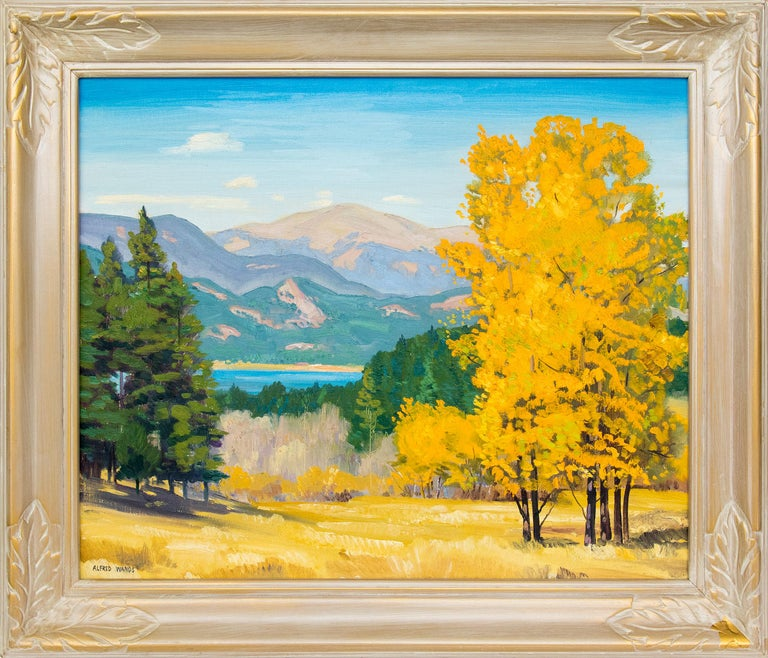 Alfred Wands Landscape Painting - Mountain Landscape, Autumn, Colorado, Aspen Trees & Lake (Yellow, Green, Blue)