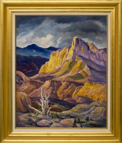 The Mighty Rockies, Modernist Mountain Landscape, Blue Yellow Gold Purple Brown