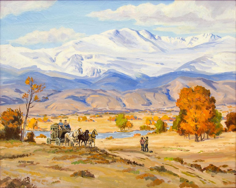 Stage Coach, Colorado Mountain Landscape, Vintage Western Oil Painting - Beige Landscape Painting by Alfred Wands