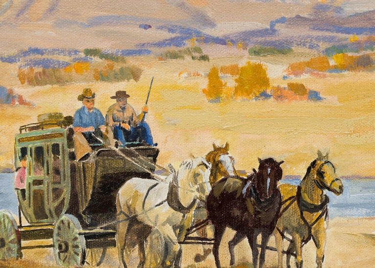 Stage Coach, Colorado Mountain Landscape, Vintage Western Oil Painting For Sale 1