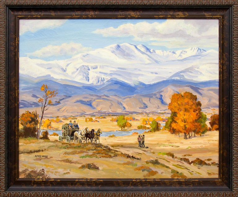 Alfred Wands Landscape Painting - Stage Coach, Colorado Mountain Landscape, Vintage Western Oil Painting
