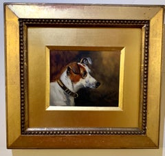 Victorian English 19th century portrait of a Jack Russell dog.