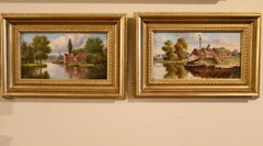 """Oil Painting Pair by Alfred William Darby """"Norfolk Riverscapes"""""""