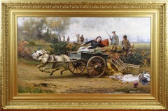 Large scale 19th Century genre/sporting oil painting of lady with donkey & cart