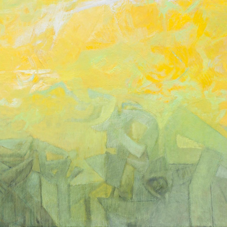 Las Sombras Que Seremos - Large Abstract Painting With Yellow, Orange and Purple For Sale 2