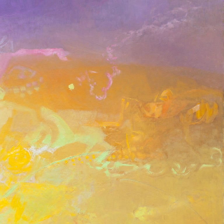 Las Sombras Que Seremos - Large Abstract Painting With Yellow, Orange and Purple For Sale 3