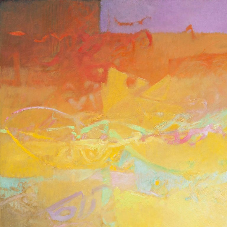 Las Sombras Que Seremos - Large Abstract Painting With Yellow, Orange and Purple For Sale 4