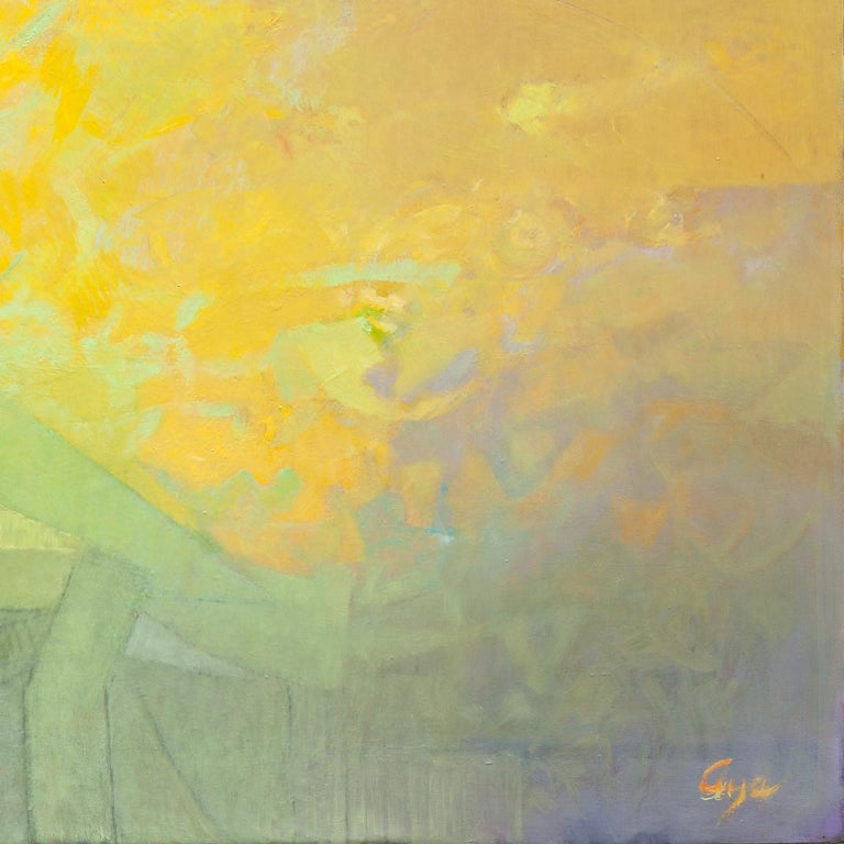 Las Sombras Que Seremos - Large Abstract Painting With Yellow, Orange and Purple For Sale 5