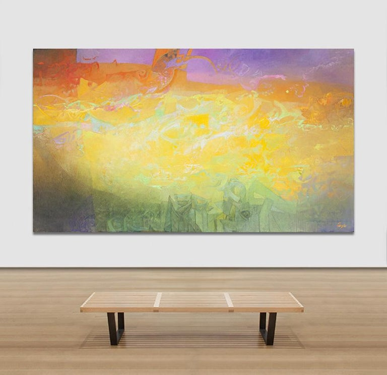 Las Sombras Que Seremos - Large Abstract Painting With Yellow, Orange and Purple For Sale 6