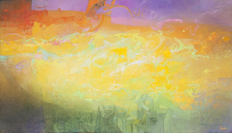 """Alfredo Aya's """"Las Sombras Que Seremos"""" is a large 67 x 118 inch abstract oil painting on canvas. The main colors are yellow, orange, green and purple. The image emanates a wonderful feeling of warmth and inner light, with a very dreamy and poetic"""