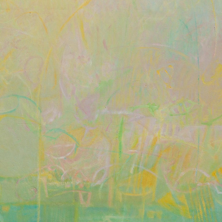 The Hours: The Middle of the Day - Large Abstract Green and Yellow Oil Painting - Beige Abstract Painting by Alfredo Aya