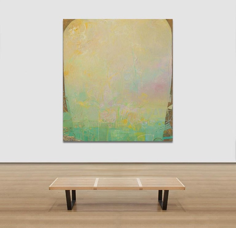 The Hours: The Middle of the Day - Large Abstract Green and Yellow Oil Painting For Sale 2