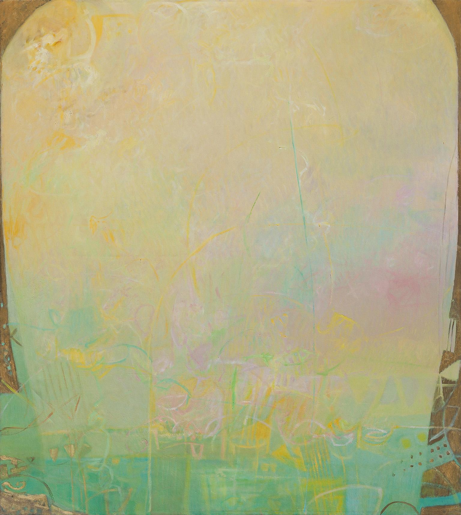 The Hours: The Middle of the Day - Large Abstract Green and Yellow Oil Painting