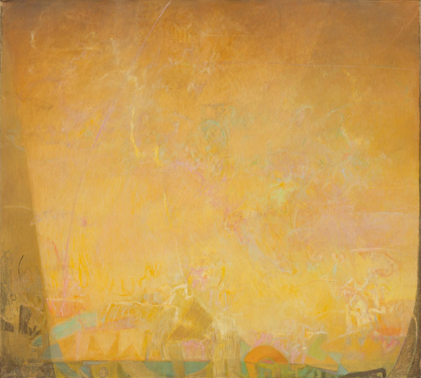 The Hours: Sunrise, When Everything Is Possible - Large Abstract Yellow Painting