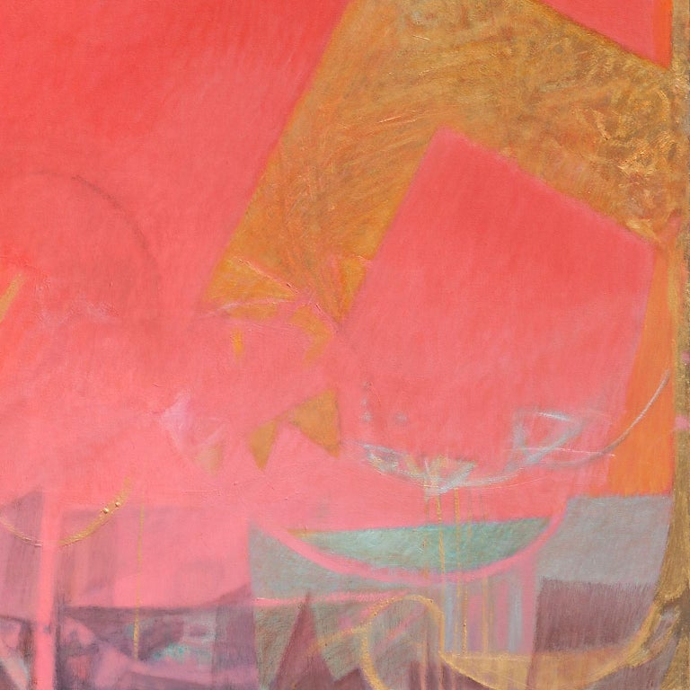 The Hours: Sunset, When Everything Has Happened -Large Red Abstract Oil Painting For Sale 1