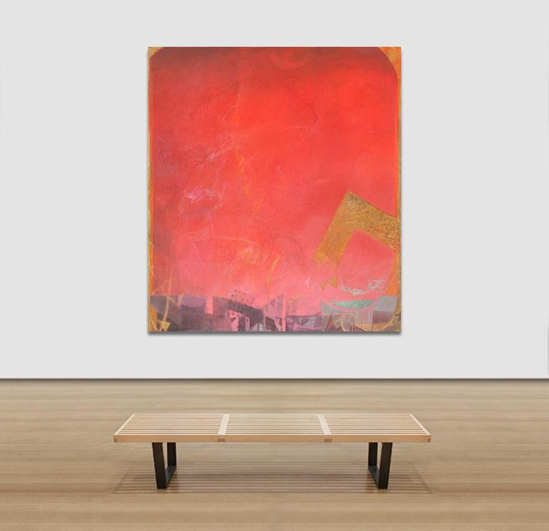 The Hours: Sunset, When Everything Has Happened -Large Red Abstract Oil Painting For Sale 3