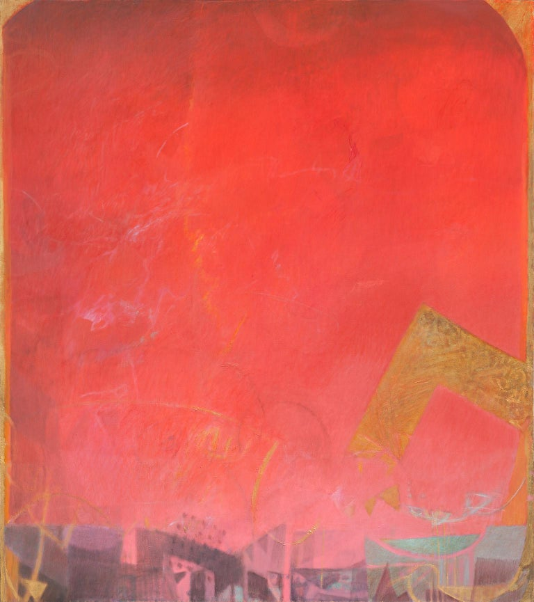 Alfredo Aya Abstract Painting - The Hours: Sunset, When Everything Has Happened -Large Red Abstract Oil Painting