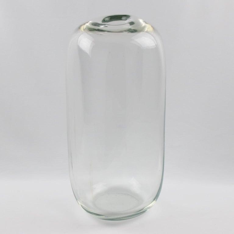Alfredo Barbini 1970s Oversized Murano Italian Art Glass Vase For Sale 1