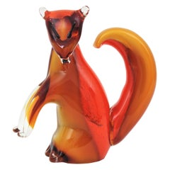 Alfredo Barbini Murano Amber and Orange Glass Squirrel Figure, Italy, 1950s