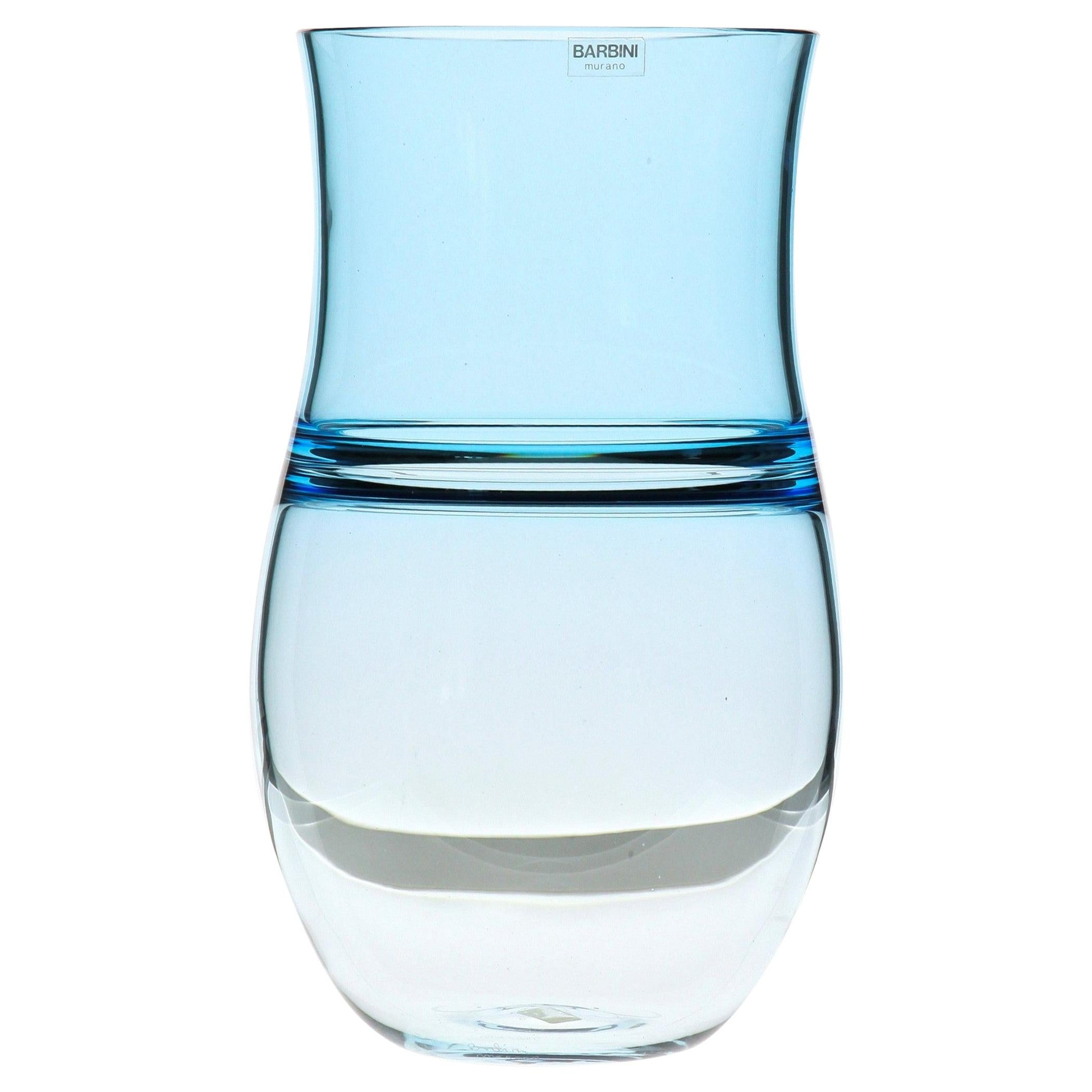 Alfredo Barbini, Aquamarine Incalmo Vase Murano Glass 1980s, Signed and Labeled