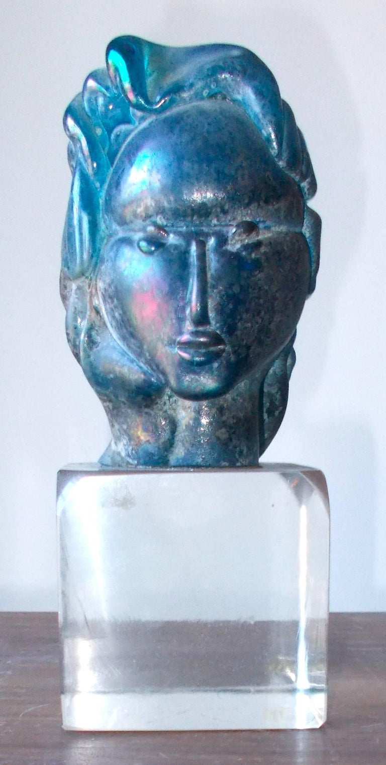Art Deco Alfredo Barbini 'Attributed' Iridized Blue Glass Sculpture For Sale