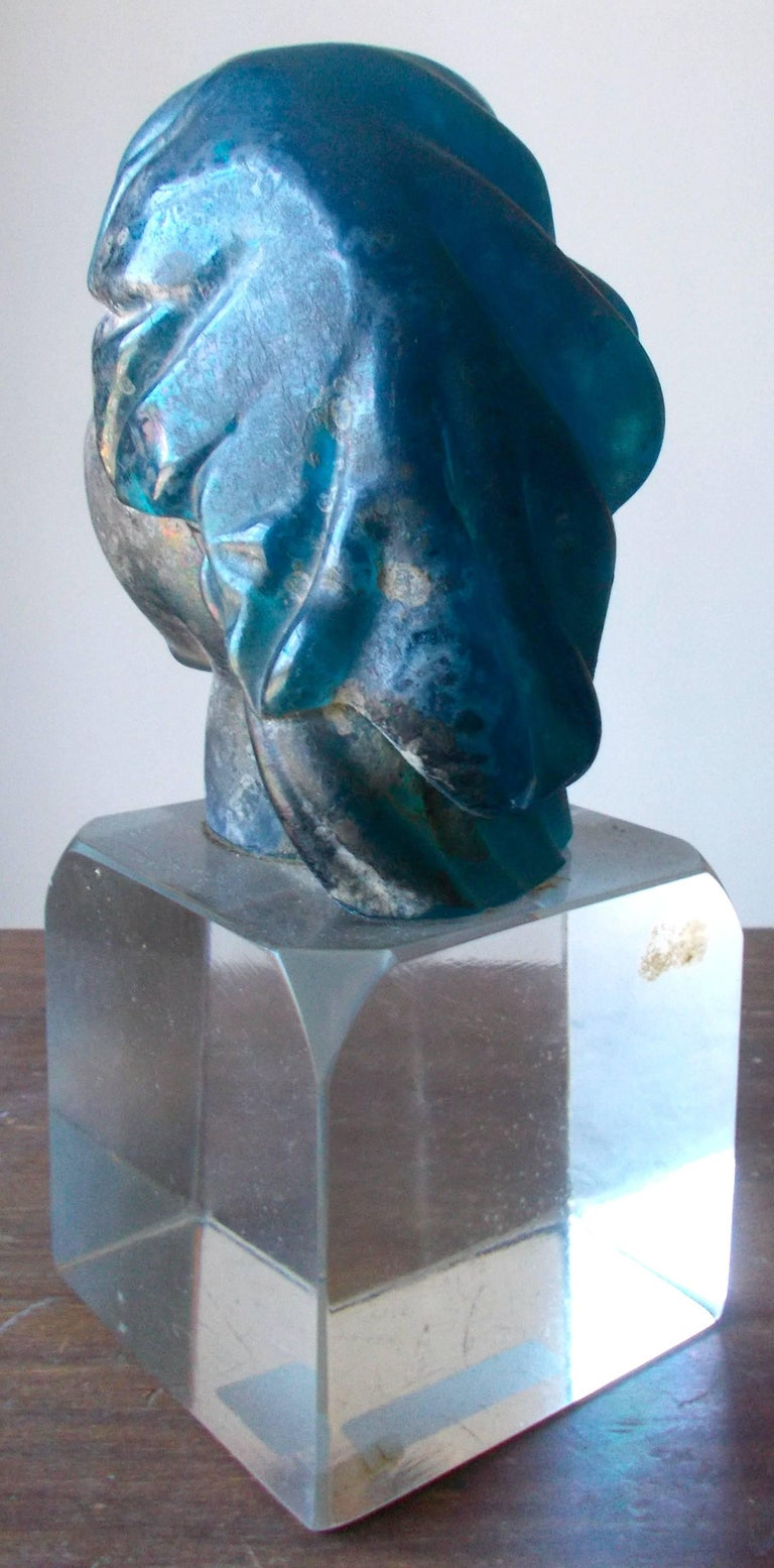 Hand-Crafted Alfredo Barbini 'Attributed' Iridized Blue Glass Sculpture For Sale
