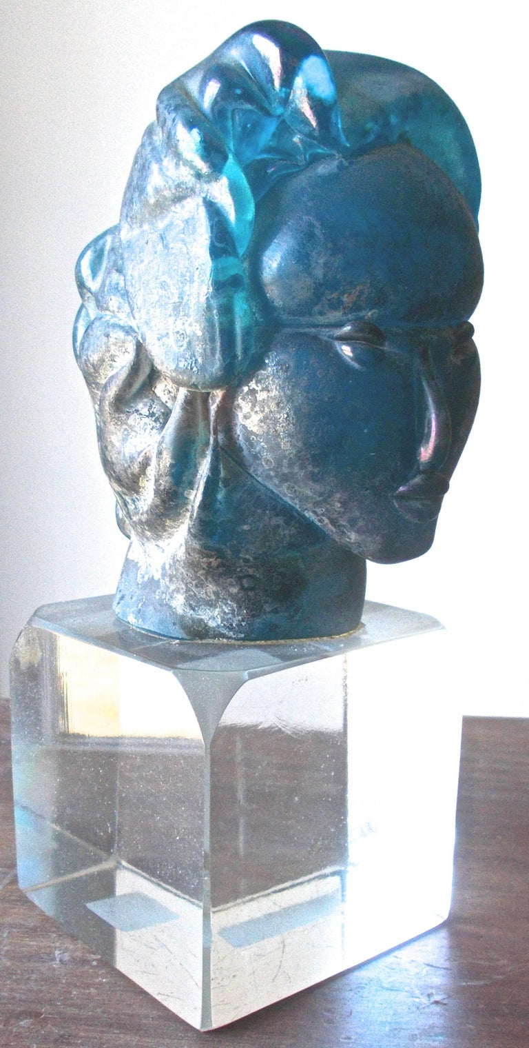 20th Century Alfredo Barbini 'Attributed' Iridized Blue Glass Sculpture For Sale